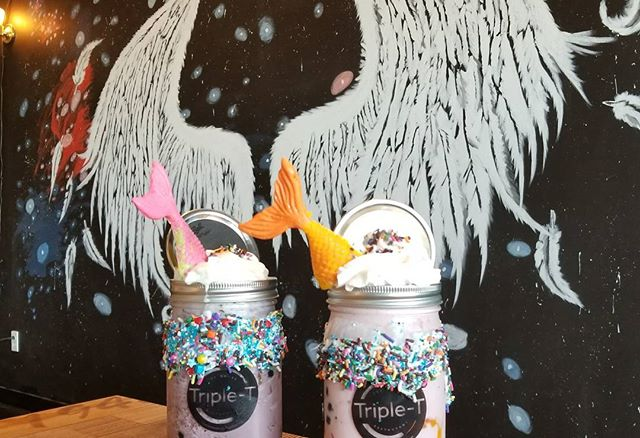 OoOh Mermaid Strawberry and Blueberry Smoothies! About $11 each after I added all the add ons but super worth watching my mom consume her smoothie!! ‍ The smoothies are real cute,  now I need to get my car detailed.  #Pandasadventures #foodies