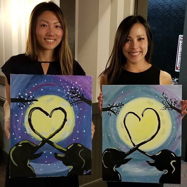I swear my elephant has a slight thyroid issue/he's in bulking up for the season. We wanted to break the mold and make out painting colors different,  darn creative orientals! Always an amazing time,  a much needed catch up session with my true blood. @jinnjuicz 👭 #Pandasadventures