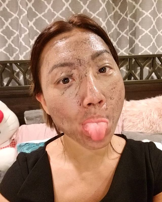 I am black now,  I mean this black mask better clear up my skin! Happy scary hump day! On the reals though,  I miss my clear skin!! #shameless #Pandasadventures ️