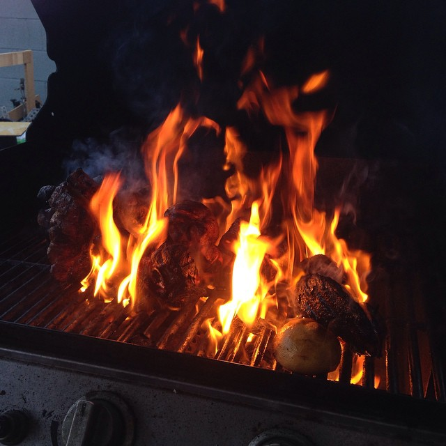 I came home opened the grill and nearly lost my eyebrows!  Mama nearly burnt down the house and all of the meat. Lord Jesus was on our side!