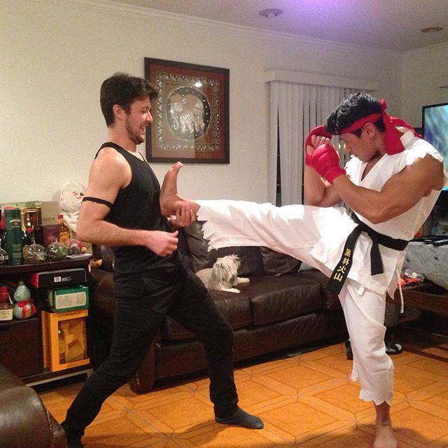 Ryu working on his leg twerking skills! @swayray @mikerabbit Funny boys!!!