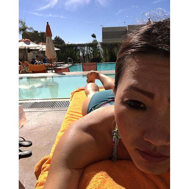 Enjoying the pool before they go demolition derby on the hotel & its amenities! #tanning 🏽