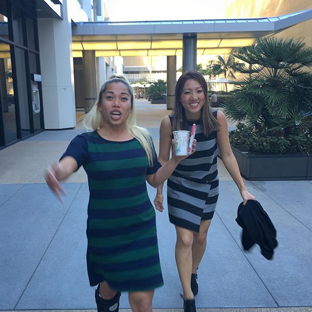 We were feeling stripe dresses today and didn't even coordinate beforehand. 🇬🇦🏽Stripe party!!! Oh and good job crippled walking so good now she walks ahead of all of us!!! #fashion @d1nmatics