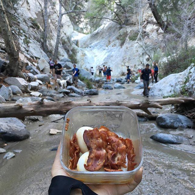 Eggs & Bacon food break on our #hike ... We fancy! 🐕🏞