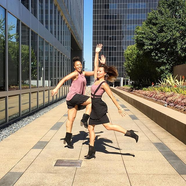 Twiddle de twiddle da! We are jumping for joy because we are half way to Friday. Well @tenisha_michelle Is smiling perfectly with her jump and I am learning how to jump and not fall on my face! I scurred! Oh and we also showed up to work dressed in the same colors unplanned! Great #fashion minds think alike. #rosegold #ootd