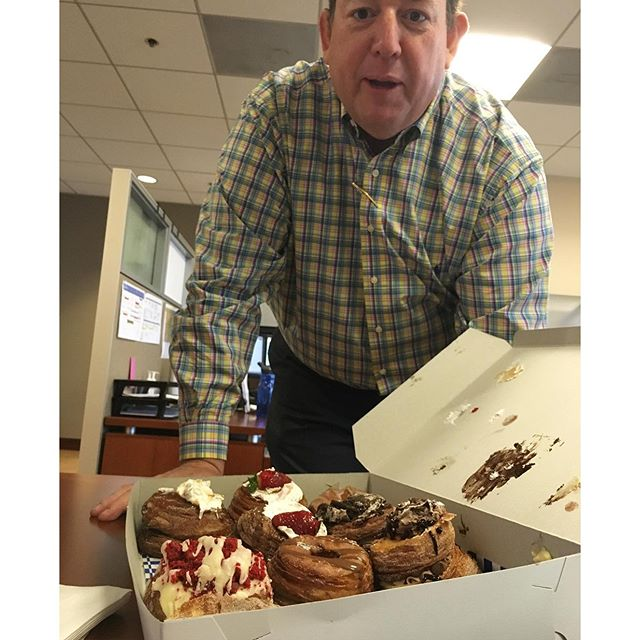 Cronuts delivered to my desk for a hearty breakfast... Thx Steve! There goes most of my calories for the day... yikes! 😬 #foodies