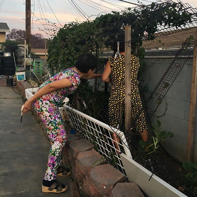 When you let the Cougars, I mean Moms out in their PJs!! And their all happy gardening!