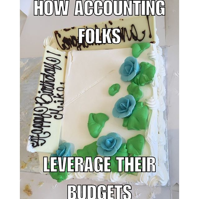 Why waste money on two cakes when you can consolidate the occasions??  #celebrate #goodidea #accounting
