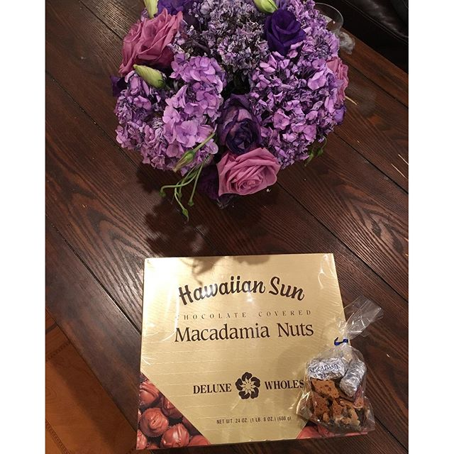 LOViNG these chocolates and flowers. Macadamia nuts from Caice & Jon! Flowers from Trinh & Peet. Don't forget I love awesome handmedowns as well!! Thx guys!!