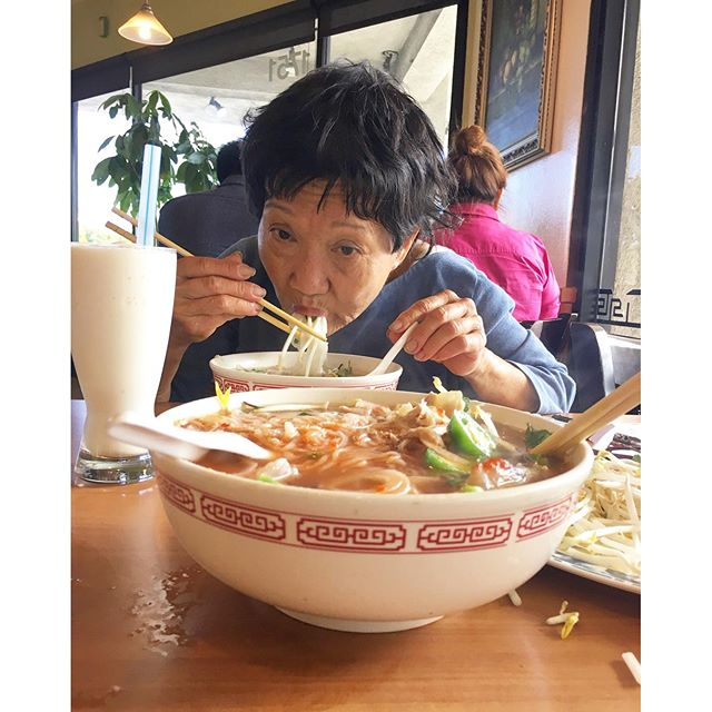 Happy Ma Day‍️‍‍🏽to this crazy lady that drives me nuts🐿 but I love️her. Here's to us chasing down on our people's food. #pho #vietnamese #food