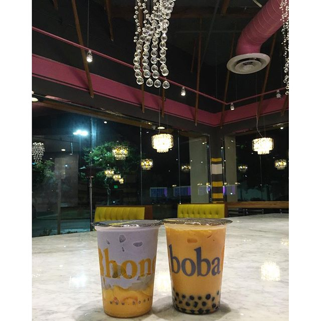 Finally trying out the drinks at the new Honey Boba, thx @swayray