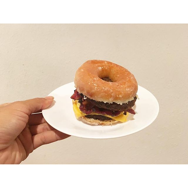 My late late night dinner... #hamburger #donut