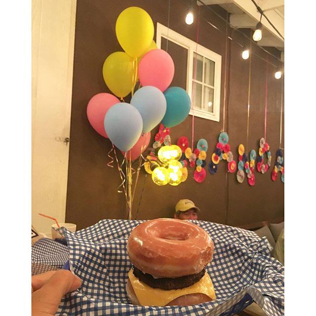 My type of burger... Glazed donut burger #heartattack #hamburger