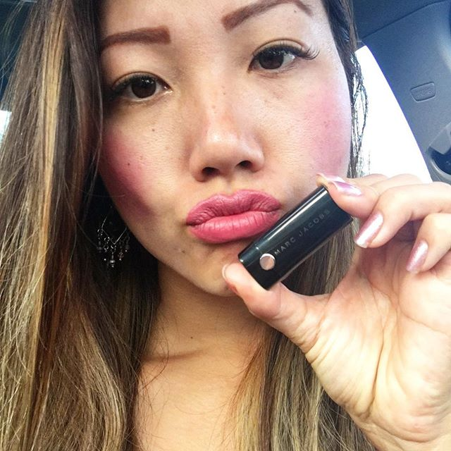 I absolutely  this white girl pink #lipstick from #marcjacobs ... #Sephora birthday freebie.. Hell yes!! Girly girl hoes gotta be cute too!!