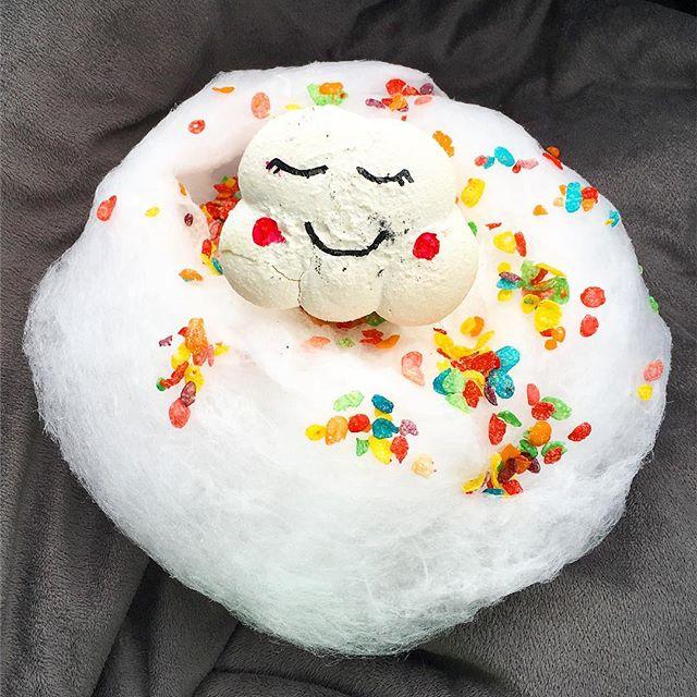 My cute cotton candy, Thai tea and cloud macaroon ice cream sandwich! Yes, it's a handful like me! #foodie #pandasadventures