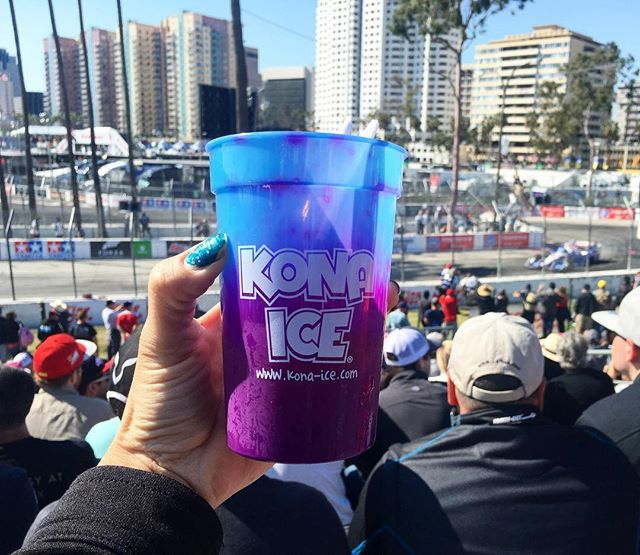 Watching the gran prix and enjoying a shaved ice in a color changing cup! #cars #pandasadventures