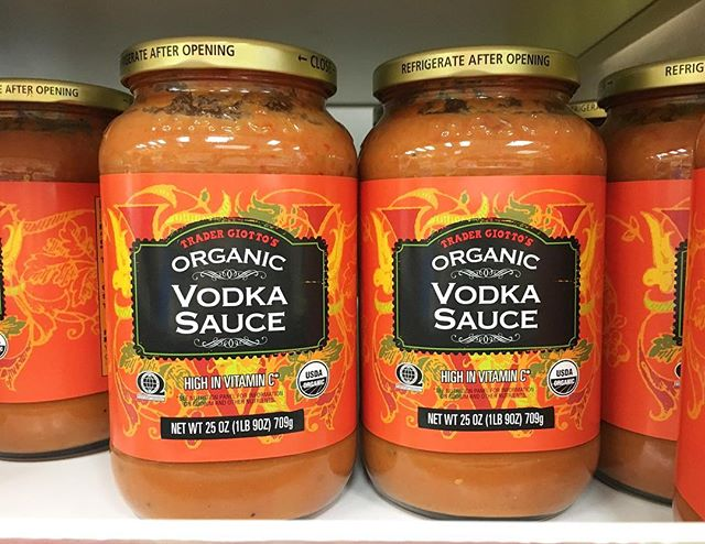 At Trader Joe's.Ray: What kind of sauce do you want with the pasta?Me: Vodka, as I point to this bottle. It's high in vitamin C too.Ray: Serious? Ok. #pandasadventures