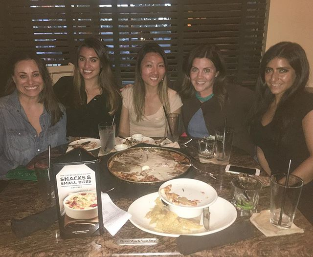 About last night. Aww, such a nice time with the werk fwiends. Happy birthday @kimsuefranck , bless your beautiful heart! ️😇 // Istill can't believe the guy at BJ's hooked us up with a large pizza size pazookie! // #drinks #pandasadventures
