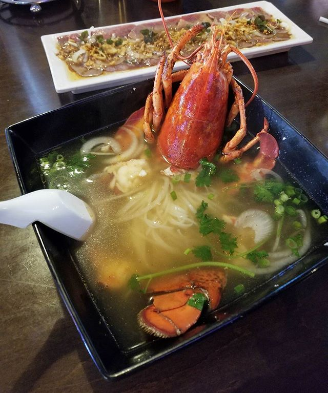 First time for everything. Lobster 🦂 Pho!  《Yeah I am bad and bougie》 #pandasadventures #yolo