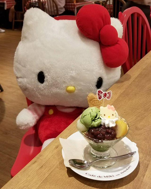 Had lunch with #hellokitty today since my real life kitty went missing a month sho. #pandasadventures