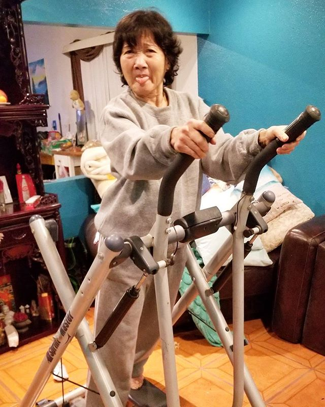 This is my Mom saying HAHA, I convinced my daughter to take home a treadmill and leave it in the living room. On the bright side, the treadmill should be blessed. Welcome to my circus, damn Asian Moms. I only did it so she will let me sleep in peace. I live with evil.. i mean my Mom. It is 10:38pm and shes using the treadmill! ♀️#chinesemoms #saveme #Pandasadventures